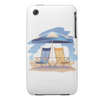 Blue & Yellow Beach Chairs & Umbrella iPhone 3 Case