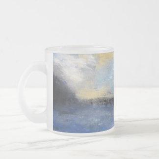Blue Yellow Beach Frosted Glass Mug
