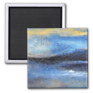 Blue Yellow Beach Square Magnet