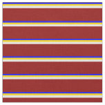 [ Thumbnail: Blue, Yellow, Beige & Dark Red Lined Pattern Fabric ]