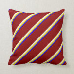 [ Thumbnail: Blue, Yellow, Beige & Dark Red Lined Pattern Throw Pillow ]