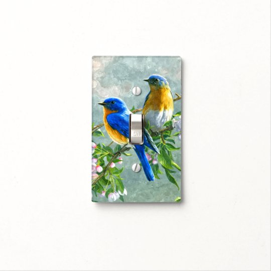 Blue Yellow Birds Cherry Blossom Tree Art Painting Light Switch Cover