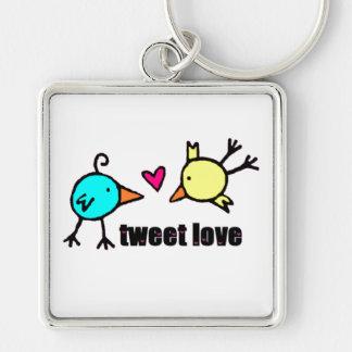 """Blue & Yellow Birds """"Tweet Love"""" WHITE Keychain"""