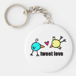 "Blue & Yellow Birds ""Tweet Love"" WHITE Key Chain"