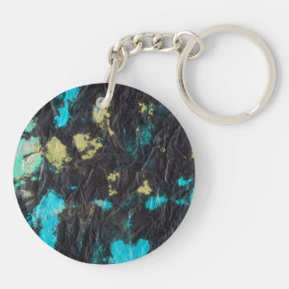 blue yellow black 2 wrinkled paper towel keychain