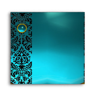 BLUE YELLOW BLACK DAMASK Aquamarine , Gold Envelope