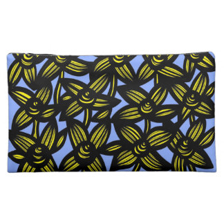 Blue Yellow Black Flowers Makeup Bags