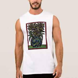 Blue Yellow Black Flowers Botanical Artwork Sleeveless T-shirt