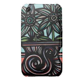 Blue, Yellow, Black, Flowers, Floral iPhone 3 Case-Mate Case
