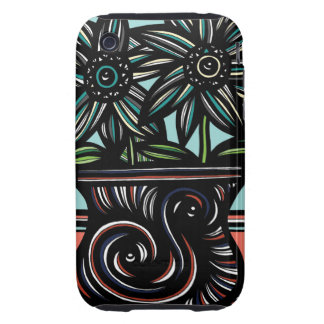 Blue, Yellow, Black, Flowers, Floral Tough iPhone 3 Cover