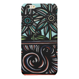 Blue, Yellow, Black, Flowers, Floral Glossy iPhone 6 Plus Case