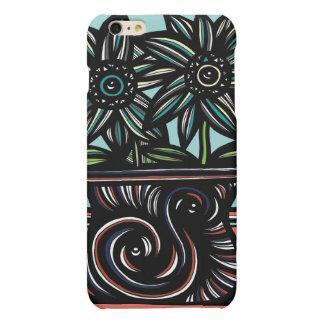 Blue, Yellow, Black, Flowers, Floral Matte iPhone 6 Plus Case