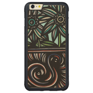 Blue, Yellow, Black, Flowers, Floral Carved® Maple iPhone 6 Plus Bumper