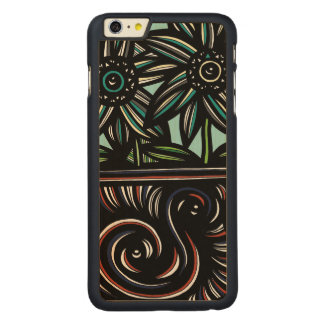 Blue, Yellow, Black, Flowers, Floral Carved® Maple iPhone 6 Plus Slim Case