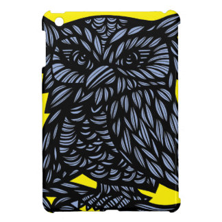 Blue Yellow Black Owl Artwork Drawing Cover For The iPad Mini