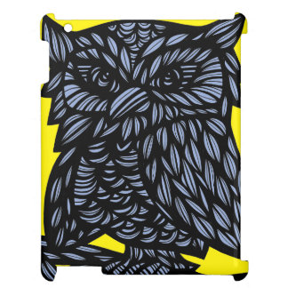 Blue Yellow Black Owl Artwork Drawing iPad Cover