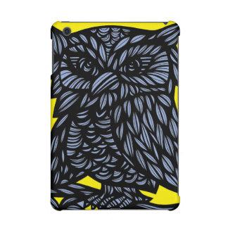 Blue Yellow Black Owl Artwork Drawing iPad Mini Case