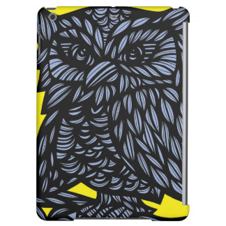 Blue Yellow Black Owl Artwork Drawing Cover For iPad Air