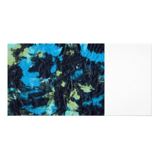 blue yellow black wrinkled paper towel card