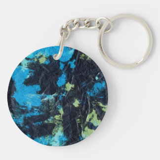blue yellow black wrinkled paper towel keychain