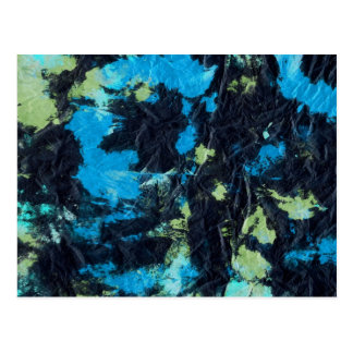 blue yellow black wrinkled paper towel postcard