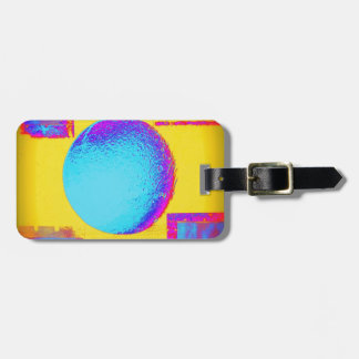 Blue Yellow Bold Bright Neon Colorful Luggage Tag