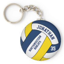 blue yellow boys' team name volleyball keychain
