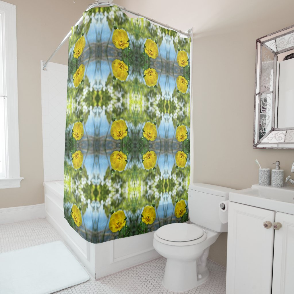 Blue Yellow Buttercup Pattern Shower Curtain