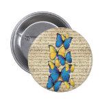 Blue & yellow butterrflies 2 inch round button