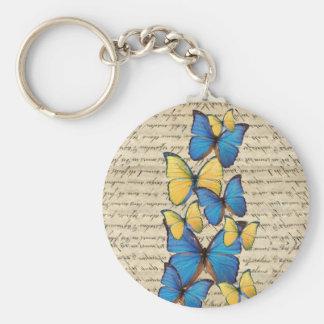 Blue & yellow butterrflies basic round button keychain