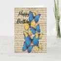 Blue & yellow butterrflies card