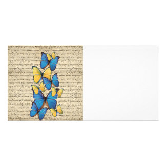 Blue & yellow butterrflies card