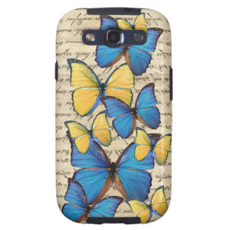 Blue & yellow butterrflies galaxy SIII cover