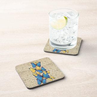 Blue & yellow butterrflies drink coaster