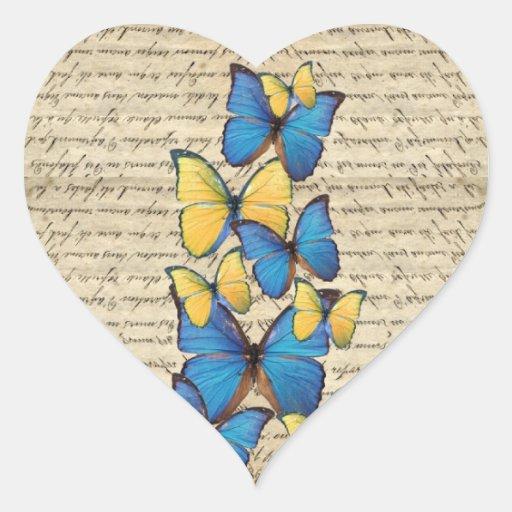 Blue & yellow butterrflies heart sticker
