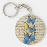 Blue & yellow butterrflies keychains