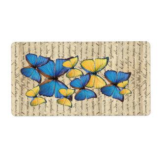 Blue & yellow butterrflies label