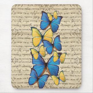 Blue & yellow butterrflies mouse pad