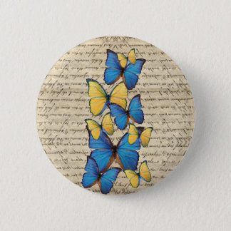 Blue & yellow butterrflies pinback button