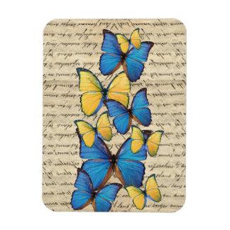 Blue & yellow butterrflies magnet