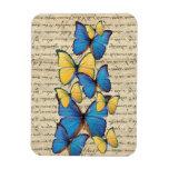 Blue & yellow butterrflies rectangular photo magnet