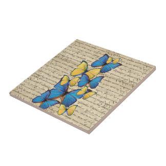 Blue & yellow butterrflies tile
