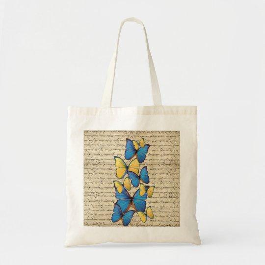 Blue & yellow butterrflies tote bag
