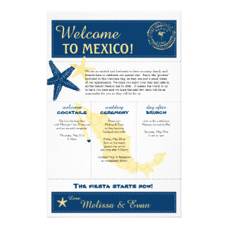 Blue Yellow Cabo Mexico Wedding Welcome Letter Flyer