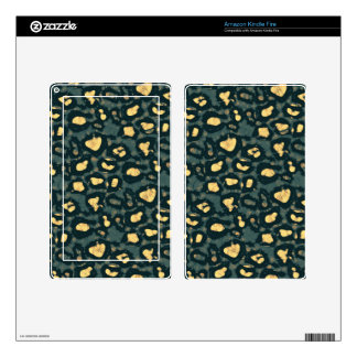 Blue Yellow Cheetah Faded Decals For Kindle Fire