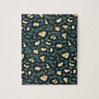 Blue Yellow Cheetah Faded Jigsaw Puzzle