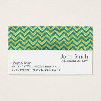 Blue & Yellow Chevron Attorney Business Card