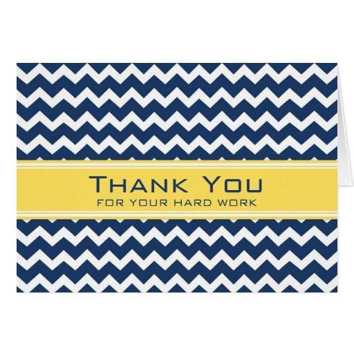 Blue Yellow Chevron Employee Anniversary Card