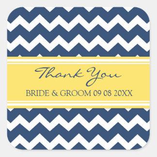 Blue Yellow Chevron Thank You Wedding Favor Tags Square Sticker