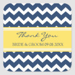 Blue Yellow Chevron Thank You Wedding Favor Tags Square Stickers